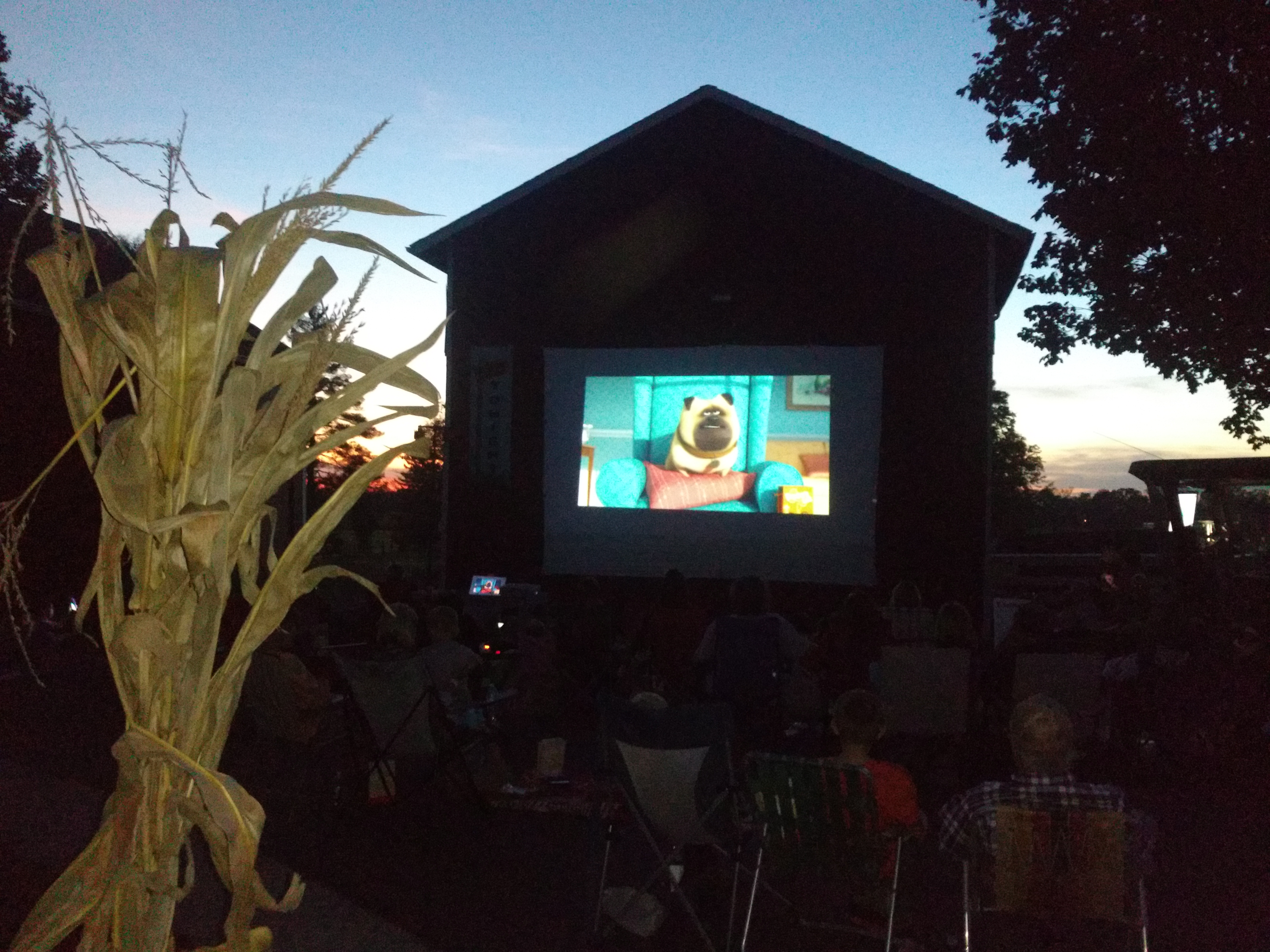 Movie on the side of a barn