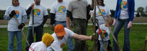 volunteers planting a tree